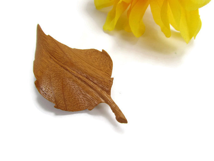 Unusual Vintage Hand Carved Wood Leaf Brooch - Attic and Barn Treasures