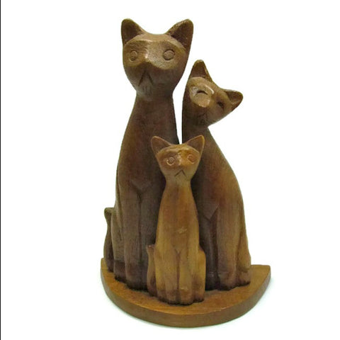 Vintage Wood Carving Siamese Cat Family