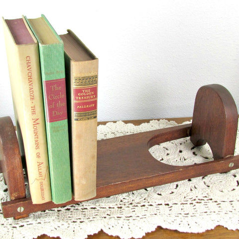 Vintage Wood Shelf Desktop Book Rack Bookend Folding - Attic and Barn Treasures