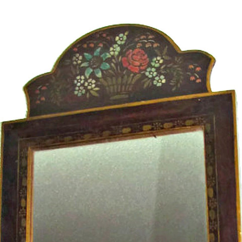 Antique Mirror in Hand Painted Wood Arch Top Frame