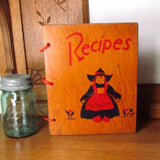 Vintage Wood Recipe Book Cookbook Binder Cover Dutch Girl - Attic and Barn Treasures