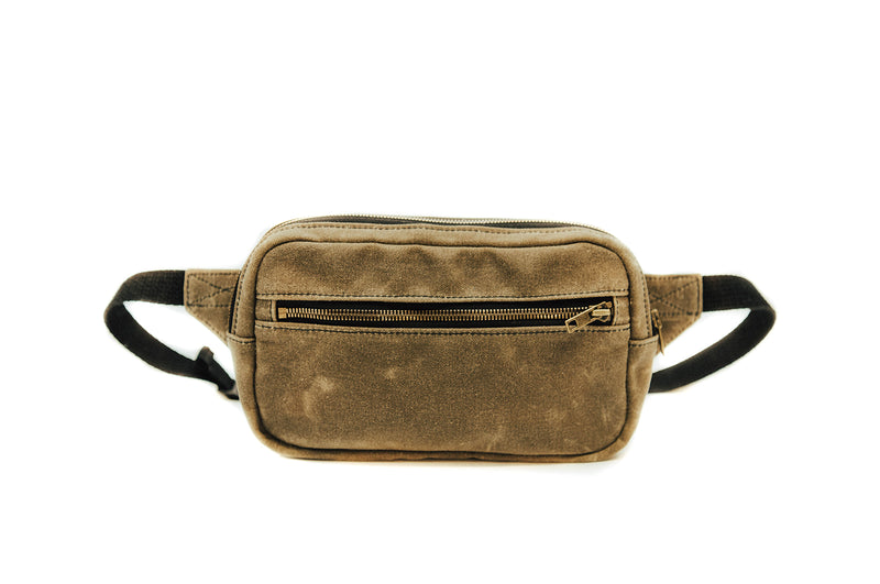 waxed canvas leather bag minimalist fanny pack hip pack