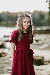 Tulip Dress in Burgundy for tweens