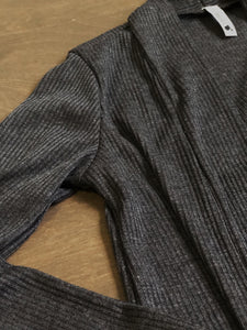 Tween Girls Ribbed Long Cardigan in Charcoal