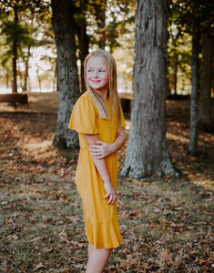 Charlotte Dress in Mustard for tweens