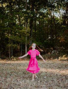 Tulip Dress in Fuchsia for tweens