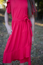 Load image into Gallery viewer, Tulip Dress in Coral for tweens