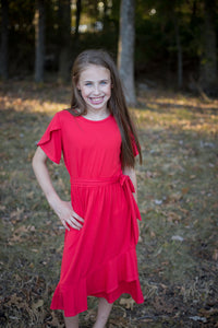 Tulip Dress in Coral for tweens