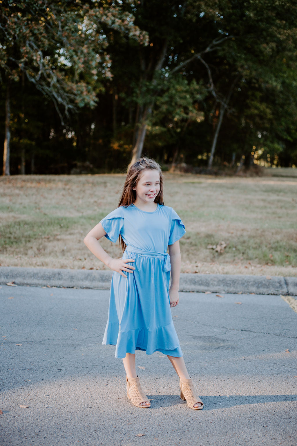 Tulip Dress in Denim for tweens