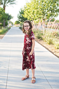 Felicity Dress in Maroon- Short Sleeve