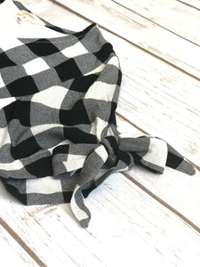tween girls modest black & white plaid dress