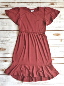 Charlotte Dress in Dusty Rose for tweens