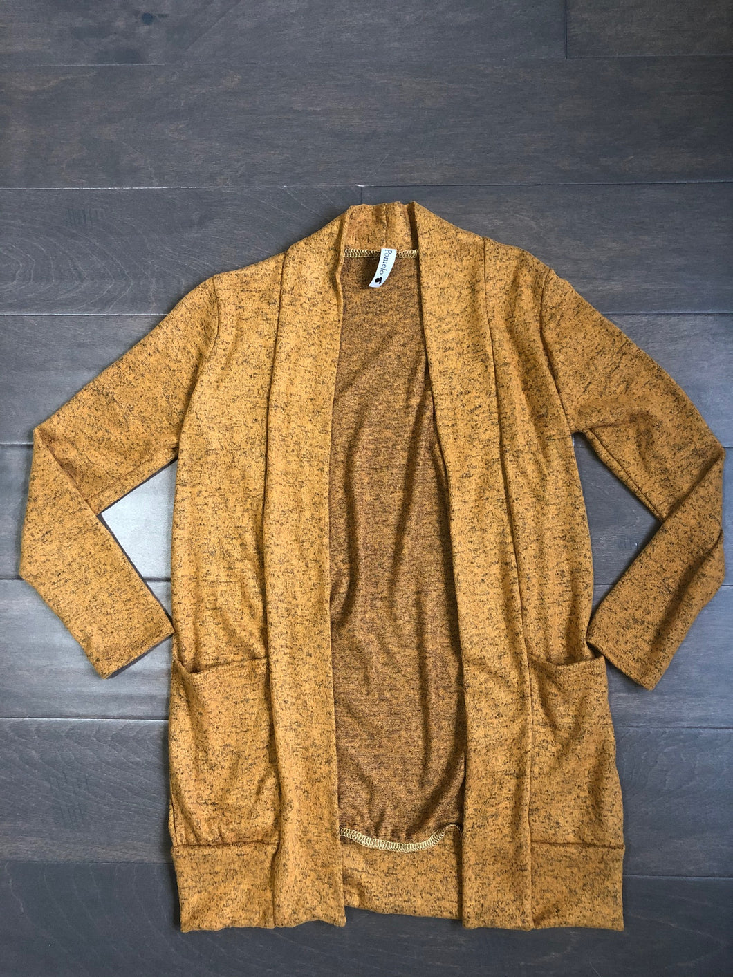Tween Girls Long Cardigan in Mustard