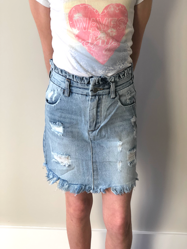 Girls High-Waisted Distress Jean Skirt