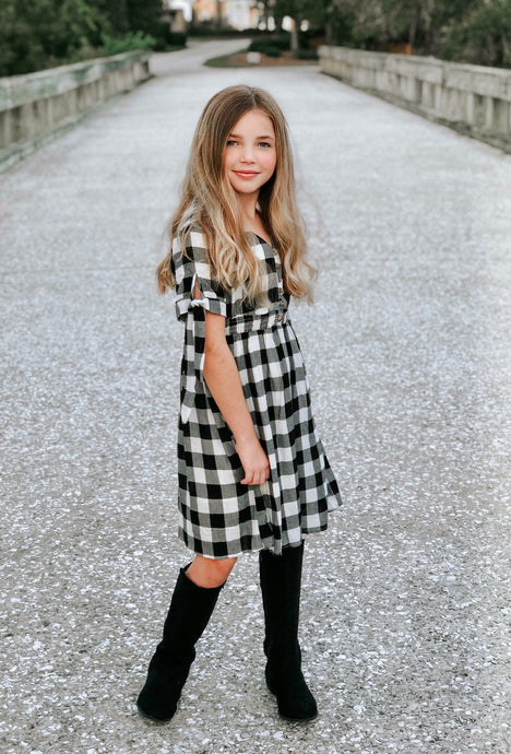 Presley Dress in Black & White Plaid for tweens