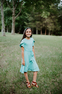 Tulip Dress in Mint for tweens