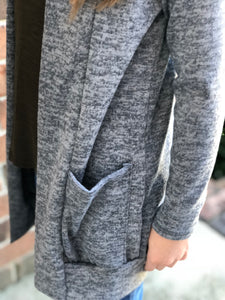 Tween Girls Long Cardigan in Grey