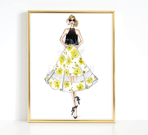 High Fashion 5th Ave Girl Illustration