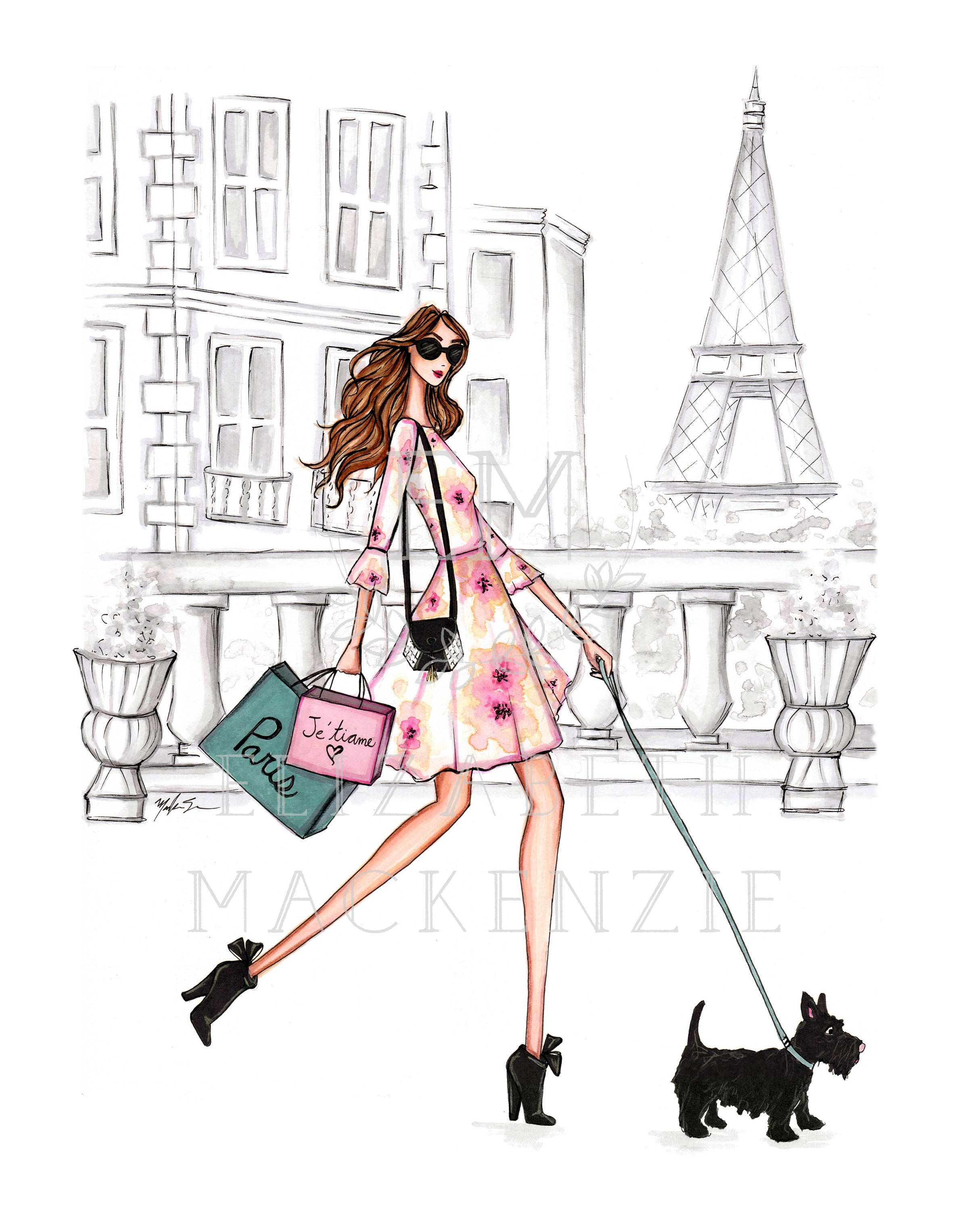 Girl and Pup in Paris Fashion Illustration