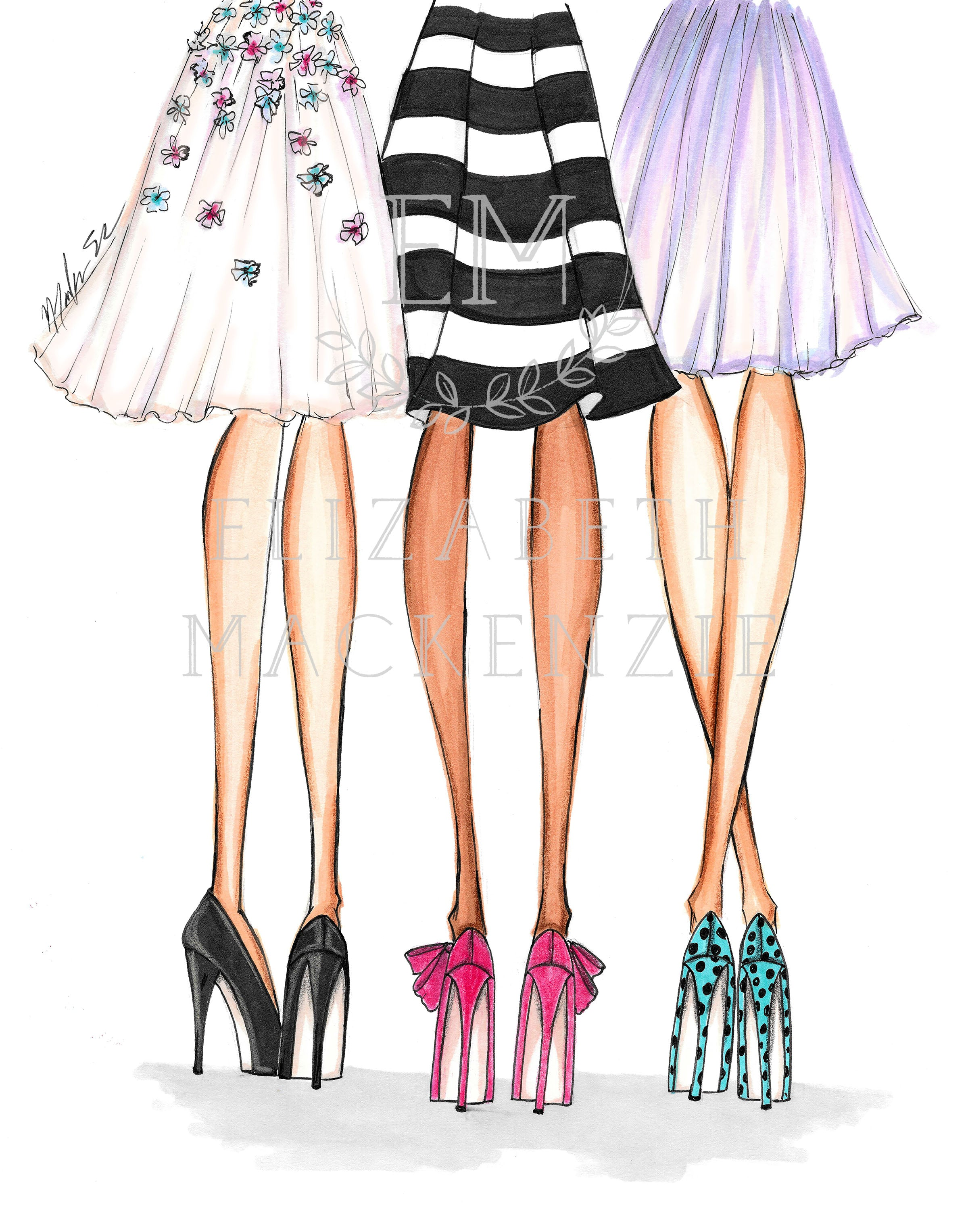 Girls in Heels Fashion Illustration