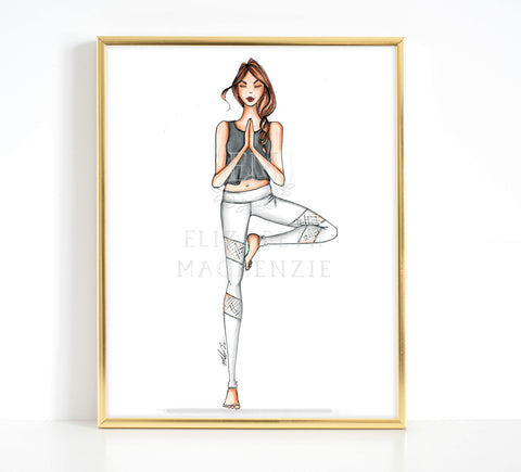 Namaste Yoga Girl Fashion Illustration