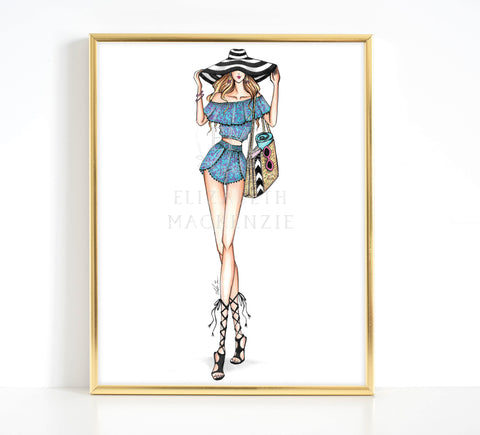 Beach Babe Fashion Illustration