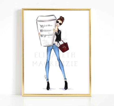 Caffeinated Girl Boss Fashion Illustration