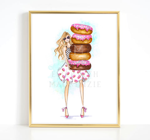 Donut Girl Fashion Illustration