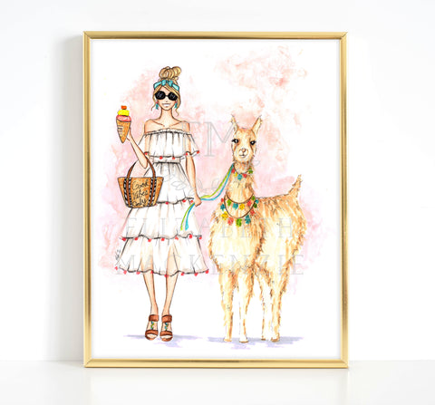 Good Vibes Only Girl and Llama Fashion Illustration