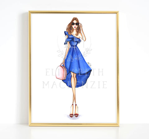 Chic Blue Dress Fashion Girl Illustration