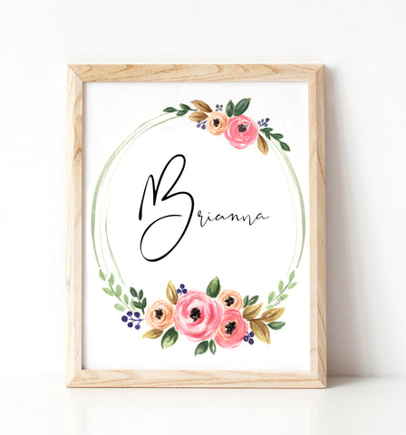 Personalized Floral Wreath Girl Nursery Illustration Print