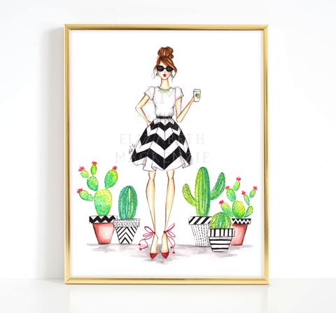 Cactus and Coffee Girl Fashion Illustration