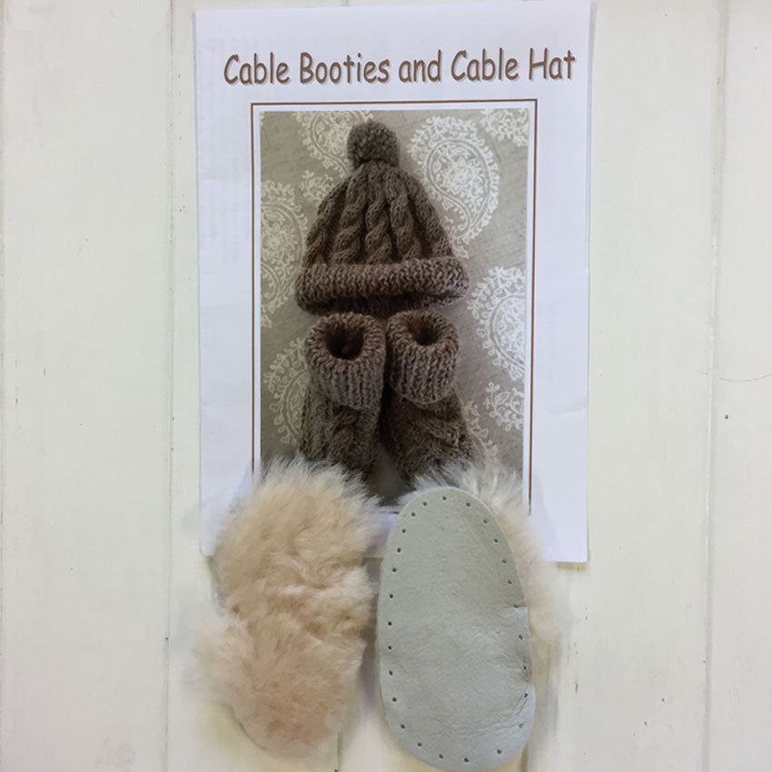 Cable Bootees and Cable Hat
