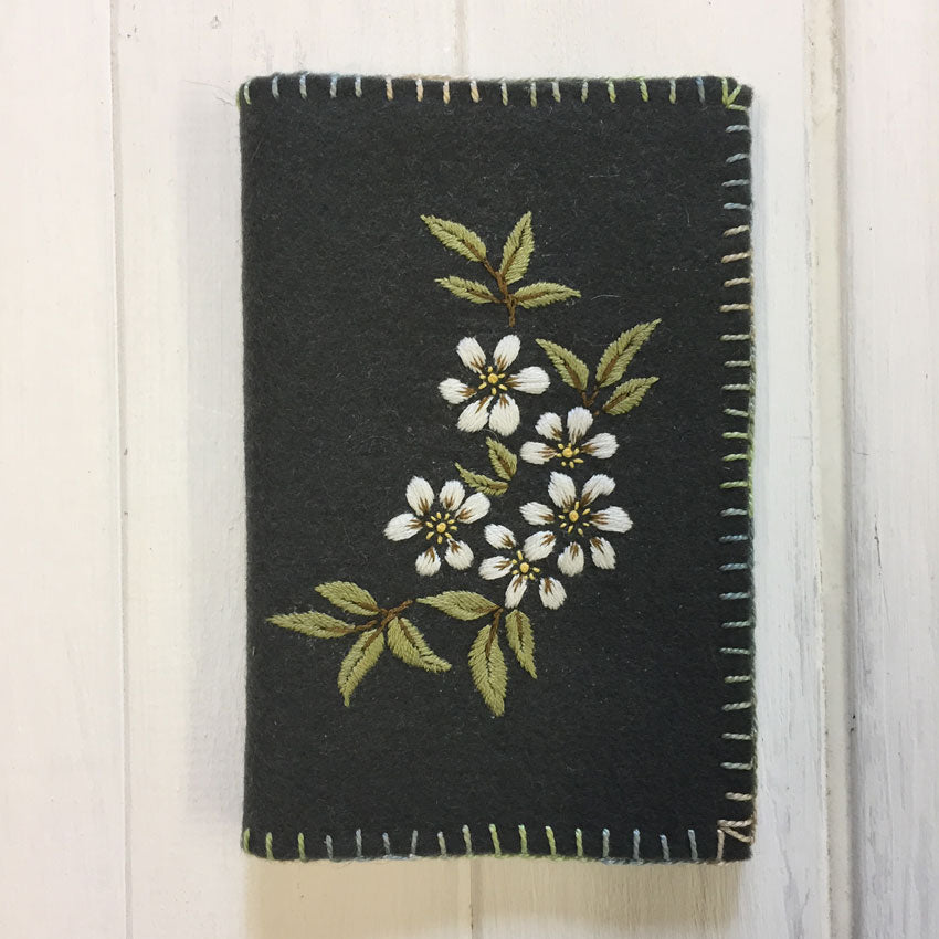 Floral Spray on Charcoal Needlebook