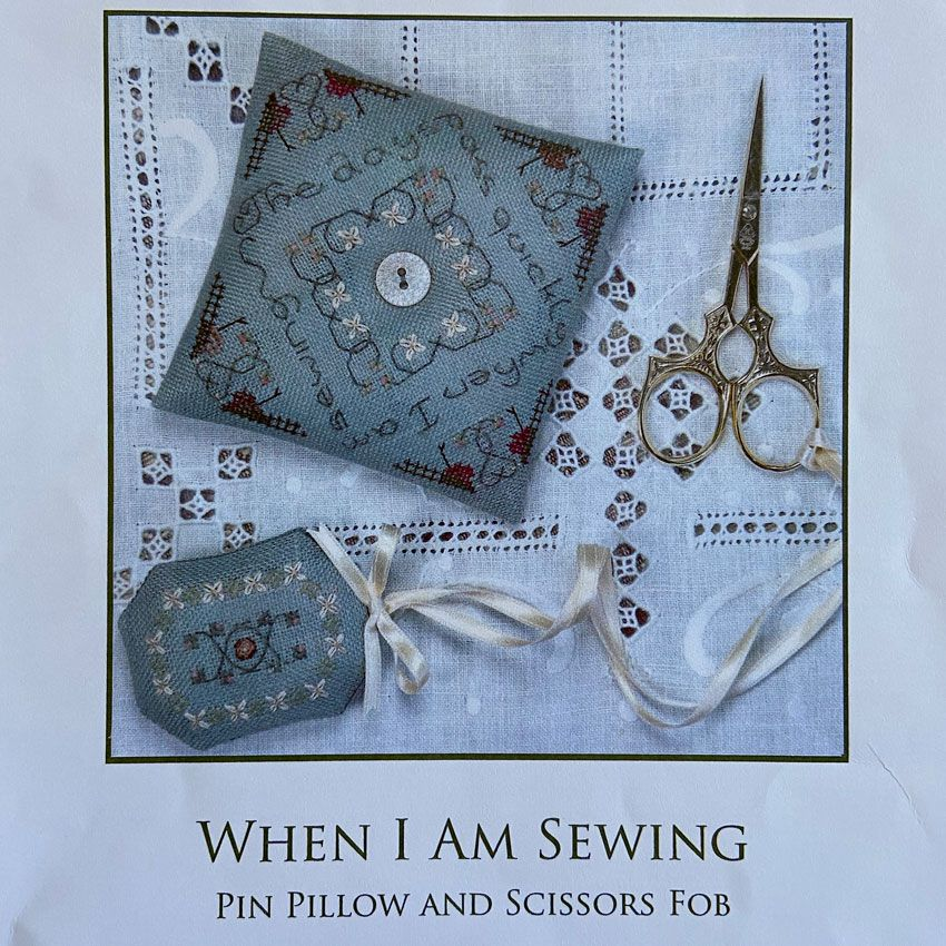 When I am Sewing - Pin Pillow and Scissors Fob