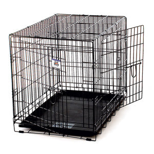 LARGE DOUBLE DOOR WIRE DOG CRATE - BLACK-08602581