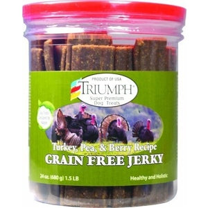 TRIUMPH GRAIN FREE JERKY DOG TREATS, TURKEY-PEA-BERRY-08603331