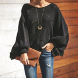 Cut Out Sweater with Lantern Sleeves.