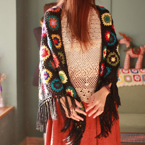 Knit Tassel Cape