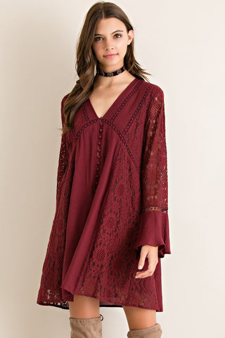 Merry Burgundy Holiday Dress