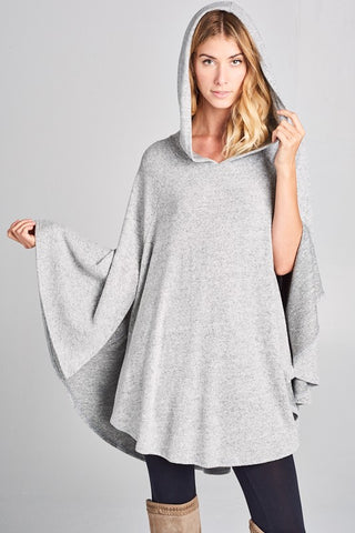 Pretty Poncho with Hood , Heather Gray