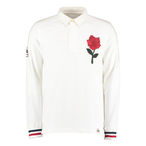 England - Mens Rhino Heritage Rugby Long Sleeve Supporter Shirt - White