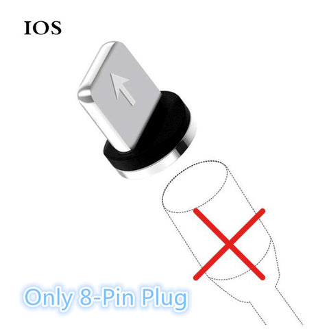 Image of JUSFYU LED Magnetic Charge Cables for iPhone Samsung Mobile Phone 2.4A Fast Charging  Magnet Charger Micro USB Cable Type C Wire