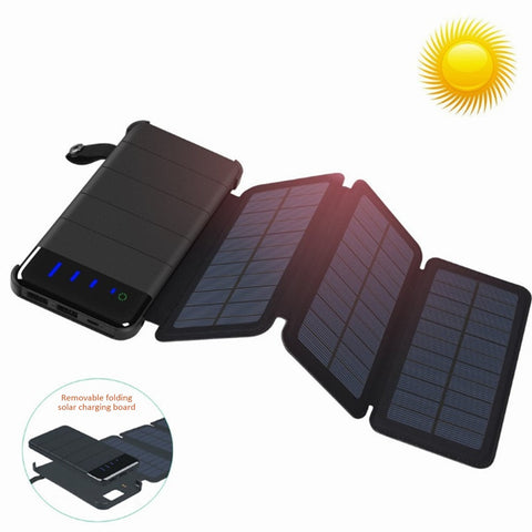 Solar Panel Charger Mobile Power 10000mAh Mobile Phone Battery Dual USB Port Outdoor Portable Folding Waterproof Power Supply
