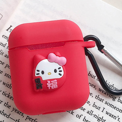 Cute Cartoon Silicone Case for Apple Airpods Accessories for i10 TWS Bluetooth Earphone Box Protective Cover Bag Anti-lost Strap