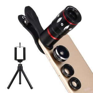TWISTER.CK 4 In 1 Clip-on Cell Phone Camera Lens Kit 10x Optical Zoom 15x Macro Lens Telephoto Lens for IPhone Samsung Galaxy