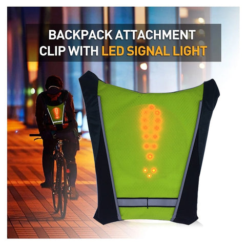 Image of LED Running Safety Vest Turn Signal Bike Backpack Widget with Direction Indicator Cycling Safety Light Running Vest Women Men