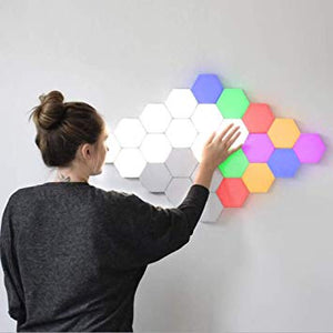 New Colorful Quantum lamp LED Hexagonal lamps modular touch sensitive light night light magnetic hexagons creative wall decor