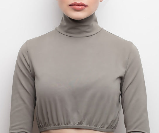 Neckblouse - Kia Long Sleeve Grey - Helen Latifi