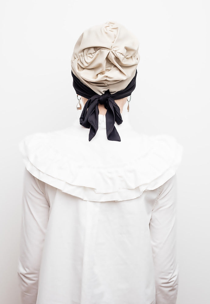 Instant - Turban - Zarah Stylish - Creme & Charcoal - Helen Latifi